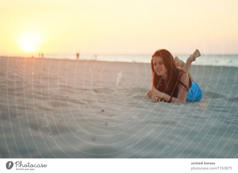 Woman Vacation & Travel Relaxation Girl Beach Art Fashion Lie Contentment Esthetic Romance Model Beach dune Vacation photo Walk on the beach Vacation mood