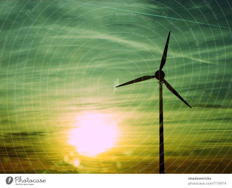 alternative energy Wind energy plant Electricity Power Vapor trail Yellow Gray Cyan Public utilities Alternative Environmental protection Industry Sun
