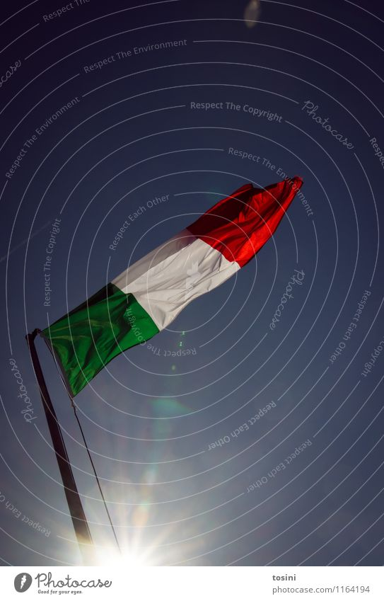 Bella Italia II Sky Green Red White Sign Flag Italy Vacation & Travel Sunlight Sunbeam Europe Summer vacation Wind Blow Cloth Nationalities and ethnicity Pride