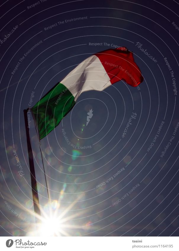Bella Italia I Sign Green Red White Flag Italy Flagpole Sky blue Europe Summer vacation Wind Blow Cloth Nationalities and ethnicity Pride hoist Colour photo