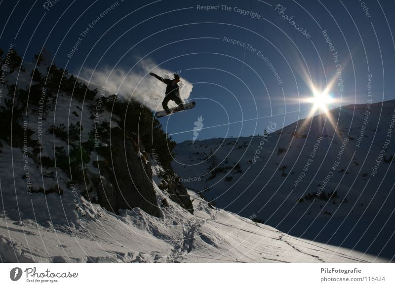 Sky Blue White Sun Landscape Winter Mountain Snow Sports Rock Jump Air Free Bushes Crazy Tall