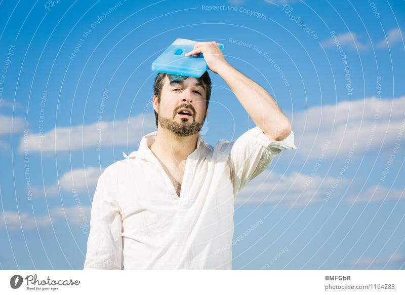 cool down Human being Masculine Man Adults 1 30 - 45 years Environment Sky Clouds Sunlight Climate Climate change Weather Beautiful weather Warmth ice pack