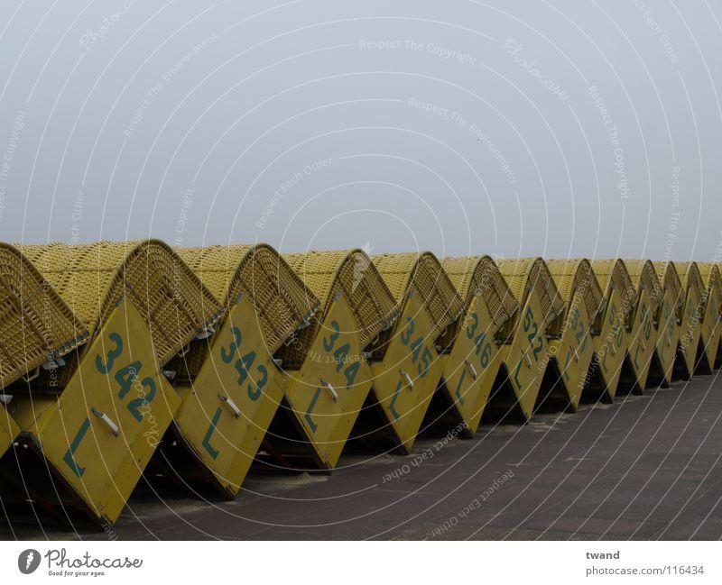 beach chair Beach chair Gray Yellow Vacation & Travel Ocean Coast Gloomy Row North Sea