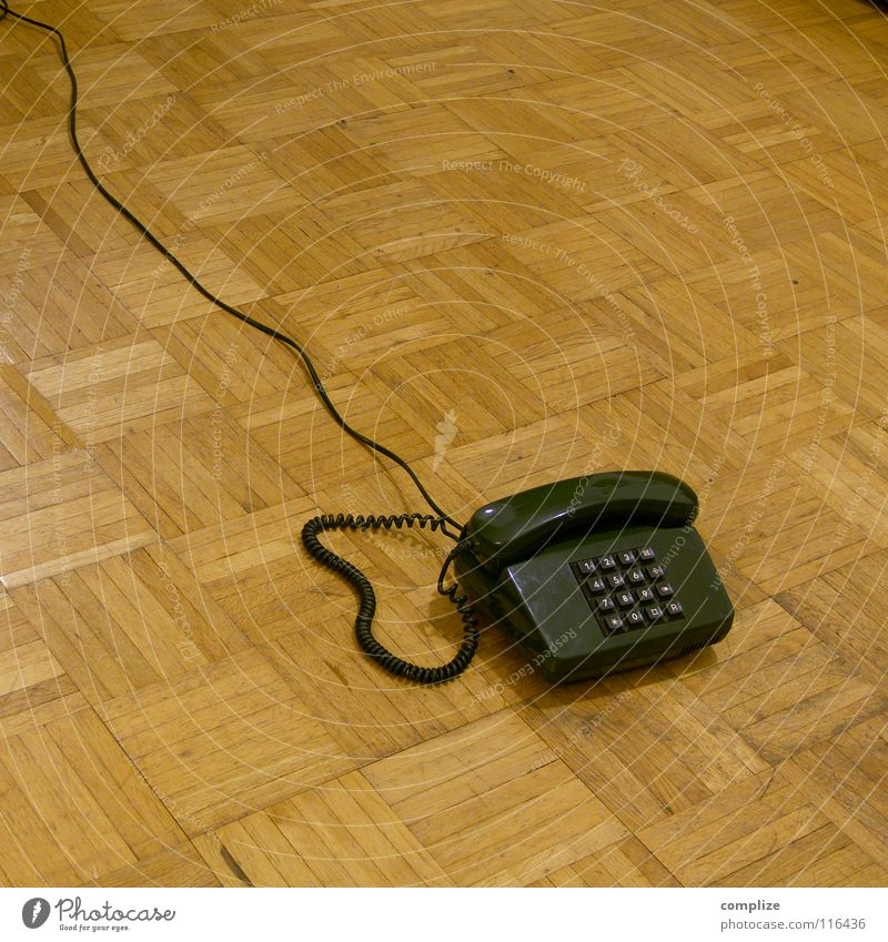 Old Green Wood Brown Flat (apartment) Telephone Retro Cable Digits and numbers Services Connection Past Mobility Parquet floor Seventies The eighties