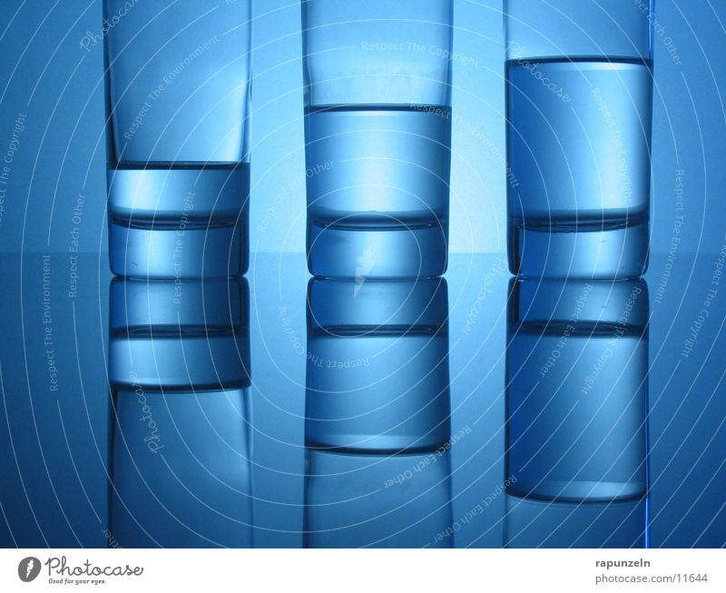 Blue Glass #05 Nutrition Water unbalanced uneven Mirror image Half full 3 Back-light Beverage Drinking water Mineral water Round Close-up Detail Glittering