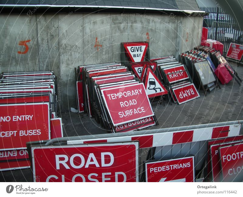 Red Signs and labeling Transport England Street sign