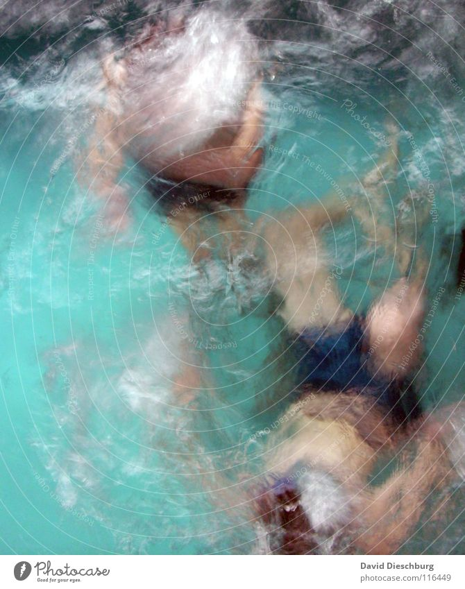 Frozen Duet Swimming & Bathing Dive Surface of water Whirlpool Blur Turquoise 2 people Anonymous Unidentified Unrecognizable Faceless