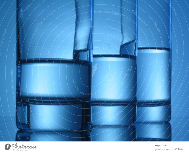 Blue Glass #06 Drinking Gradation Nutrition Water unbalanced uneven cascaded Stairs Level Water level Back-light 3 Half full Round Close-up Detail Deserted