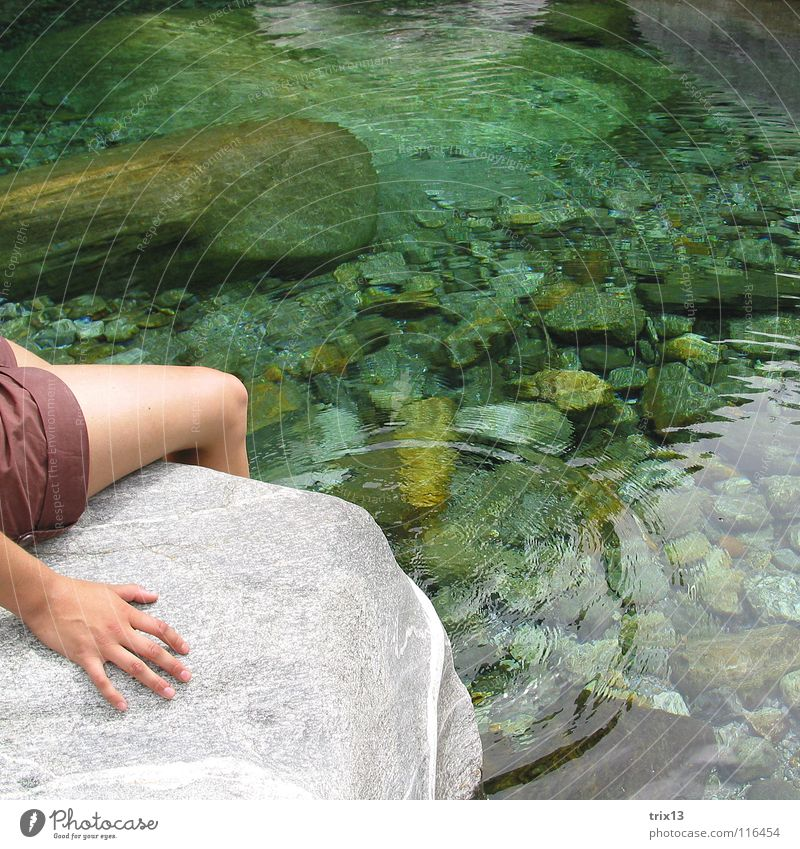 Hand Water Calm Loneliness Cold Relaxation Stone Legs Circle River Swimming & Bathing Pants Square Sunbathing Transparent Cozy