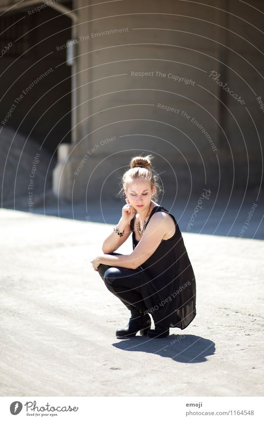 BLACK Feminine Young woman Youth (Young adults) 1 Human being 18 - 30 years Adults Fashion Hip & trendy Beautiful Uniqueness Crouching position Colour photo