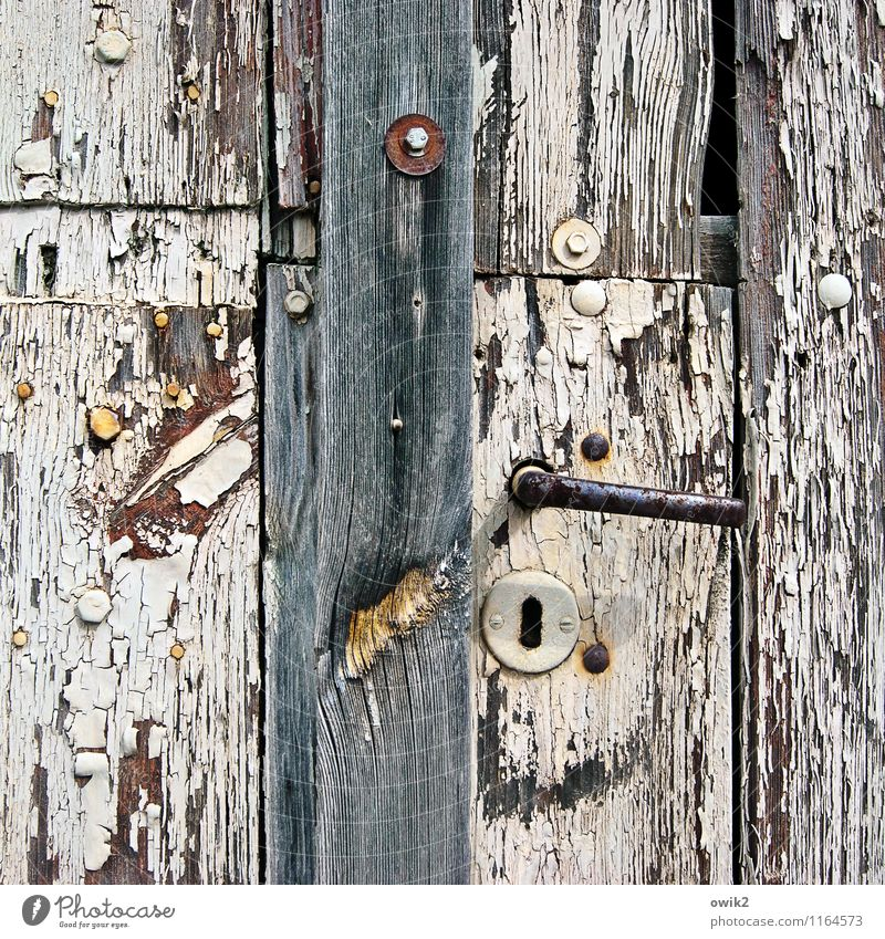 Old Gate Door To dry up Historic Decline Transience Destruction Dye Doorknob Door handle Wood Portal Keyhole Abrasion Crack & Rip & Tear Ravages of time