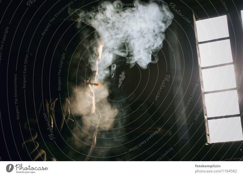 Human being Man Loneliness Adults Life Mysterious Smoking Smoke cloud