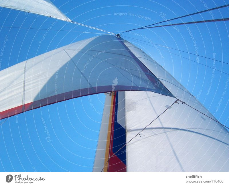 Sky Blue Water Vacation & Travel Far-off places Freedom Watercraft Wind Cloth Beautiful weather Easy Ease Sail Rag Sailboat Aquatics