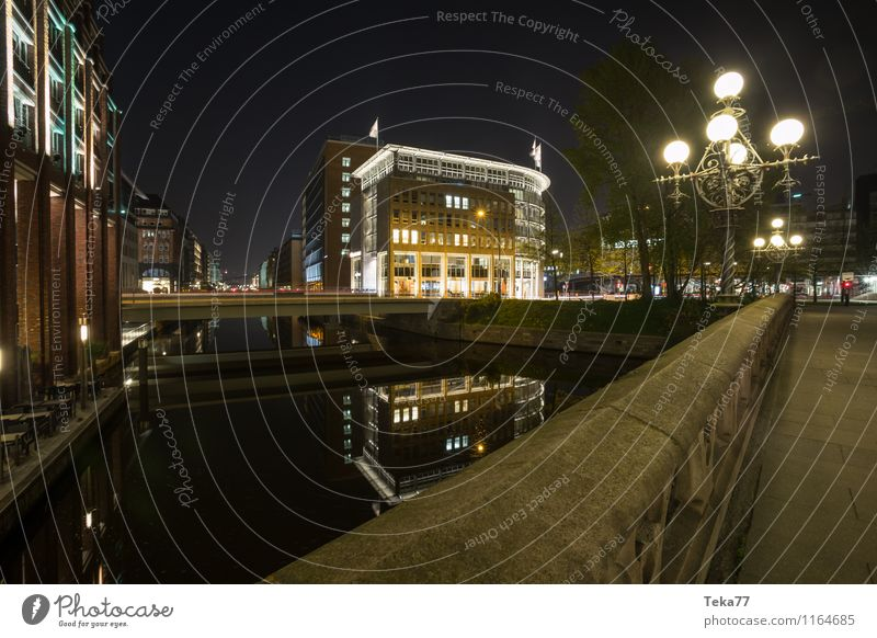 Hamburg Alsterfleet Night IIII Vacation & Travel Summer Environment Nature Waves Lakeside River bank Town Port City City hall Manmade structures Building