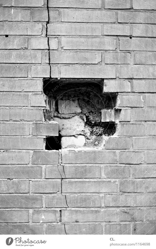 puzzled Construction site House (Residential Structure) Ruin Wall (barrier) Wall (building) Hollow Crack & Rip & Tear Stone Build Broken Destruction
