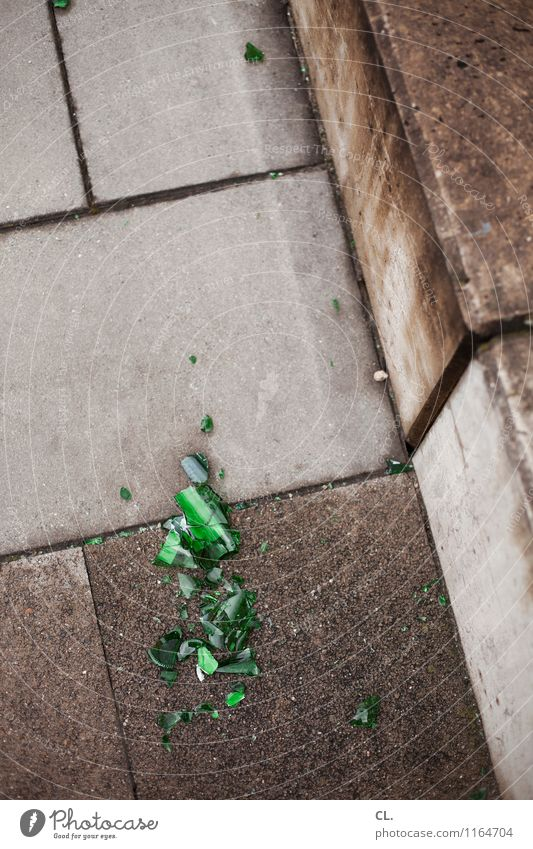 Green Gray Stone Stairs Glass Broken Ground Anger Beer Force Aggression Alcoholic drinks Destruction Frustration Bottle of beer Shard