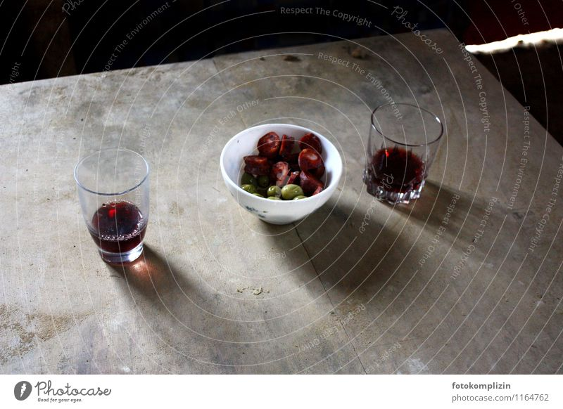 two_pauses Sausage Finger food Wine Table Bowl Glass To enjoy Poverty Simple Together Delicious Hospitality Modest Thrifty Relaxation Joie de vivre (Vitality)