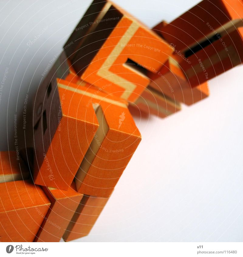 White Joy Playing Lanes & trails Line Orange Multiple Cube Puzzle Heap