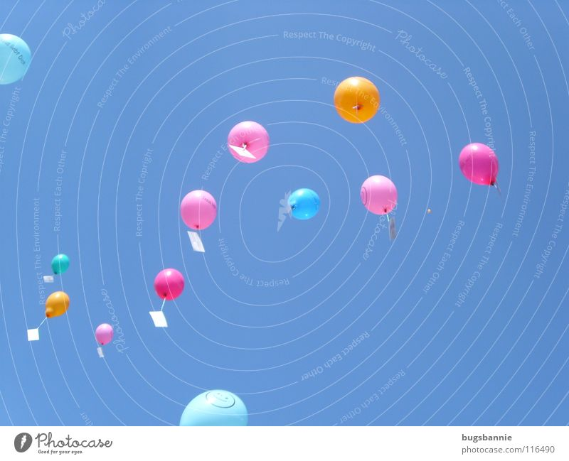 balloons Balloon Pink Multicoloured Airmail Playing Leisure and hobbies Joy Sky Flying Blue Aviation Sporting event let fly Tall