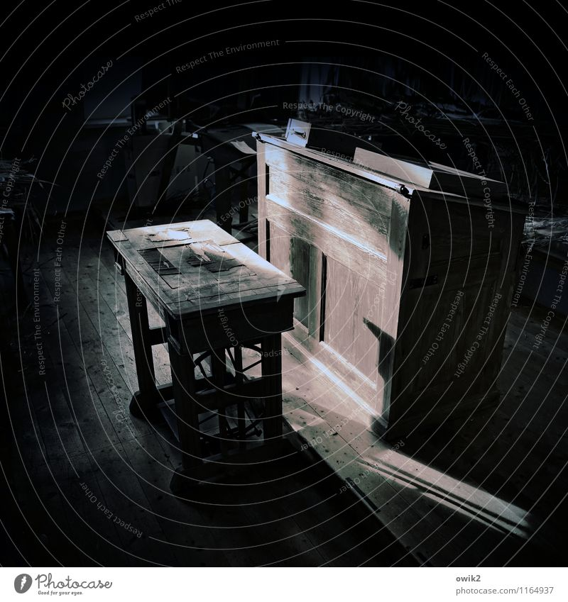 Old school Wood Stand Wait Historic Patient Calm Education Concentrate Stagnating Lectern Classroom Dark Mysterious Shaft of light School bench lost places
