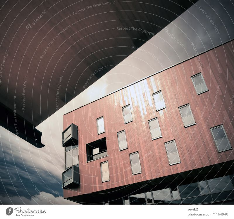 cultivation Sky Clouds Bautzen Small Town Populated Manmade structures Building Architecture Modern architecture Facade Window Sun blind Above Sharp-edged Tilt