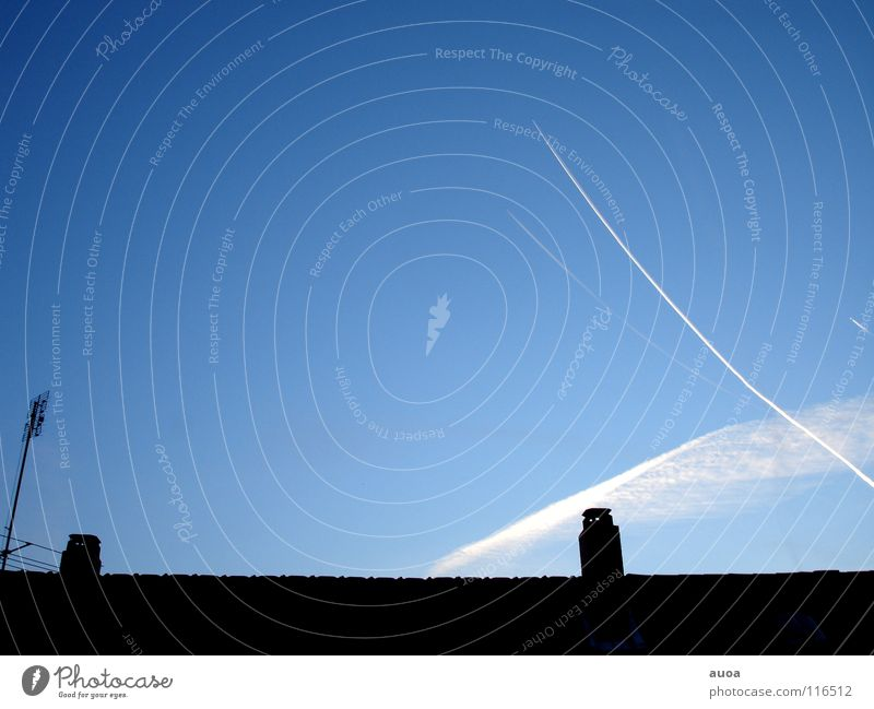 view from the window Beautiful Freedom Sky Clouds Roof Airplane Line Stripe Dark Broken Speed Soft Blue Germany view into the sky Vapor trail White Chimney
