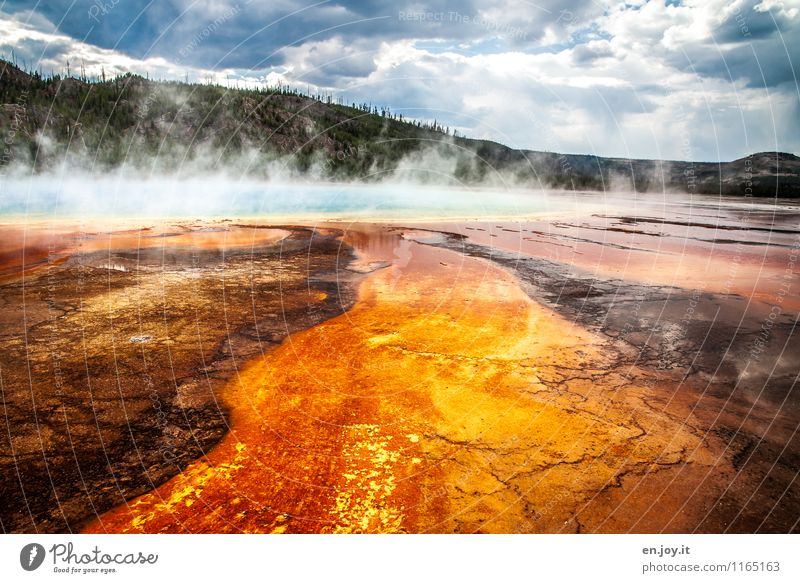 drama Vacation & Travel Tourism Adventure Summer vacation Nature Landscape Storm clouds Forest Hill Hot springs Grand Prismatic Spring Yellowstone National Park