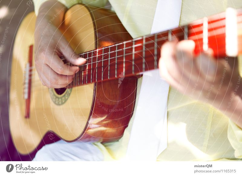 A beautiful day V Art Esthetic Guitar Guitarist Play guitar Guitar neck Guitar string Musician Musical instrument Music tuition Colour photo Subdued colour