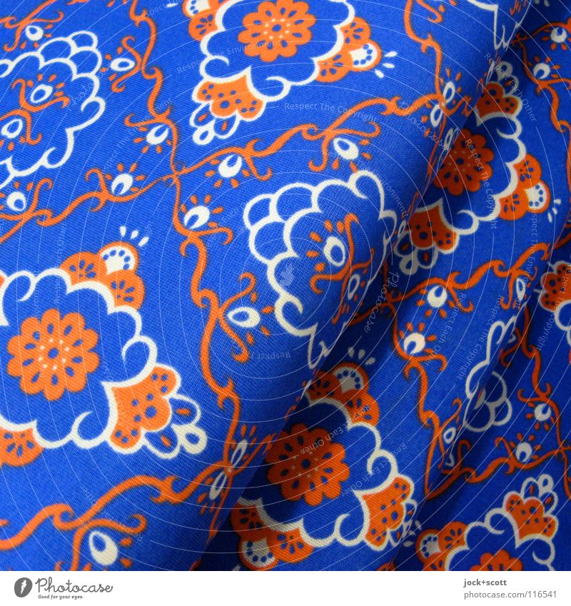 Retro sample GDR Style Exotic Decoration Floor mat Ornament Trashy Blue Orange Inspiration Curved Textiles Obscure Undulating Pattern Diagonal