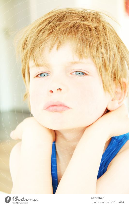 intense Child Boy (child) Infancy Skin Head Hair and hairstyles Face Eyes Ear Nose Mouth Lips Arm Hand 3 - 8 years Blonde Long-haired Observe Looking Dream