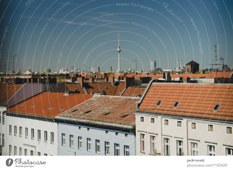 Cityscape outlook City trip Cloudless sky Spring Beautiful weather Neukölln Capital city Downtown Town house (City: Block of flats) Facade Window Roof Landmark