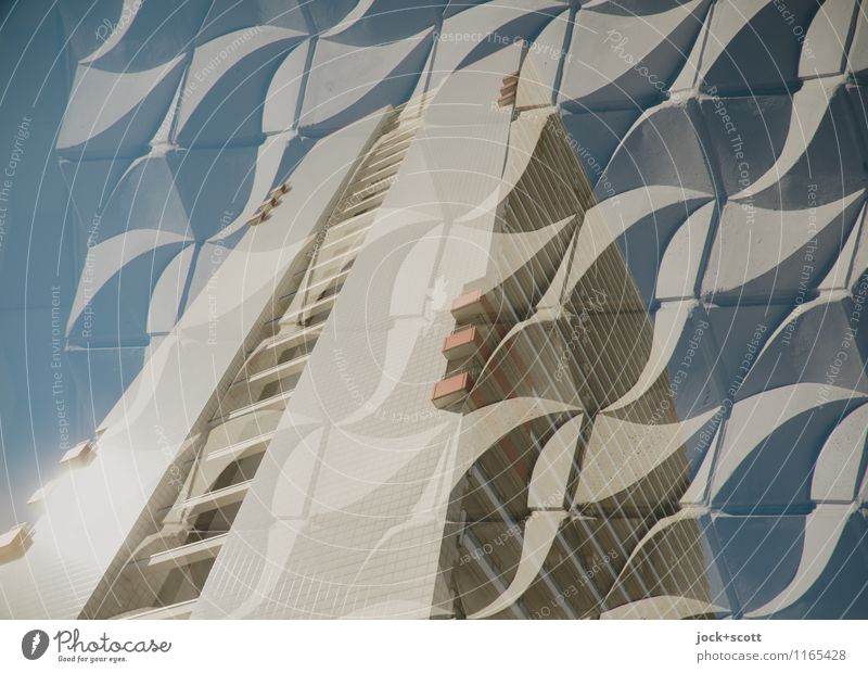 Double wavy Life Movement Gray Line Facade Design Elegant Esthetic Concrete Beautiful weather Retro Protection Network Firm Cloudless sky Tower block
