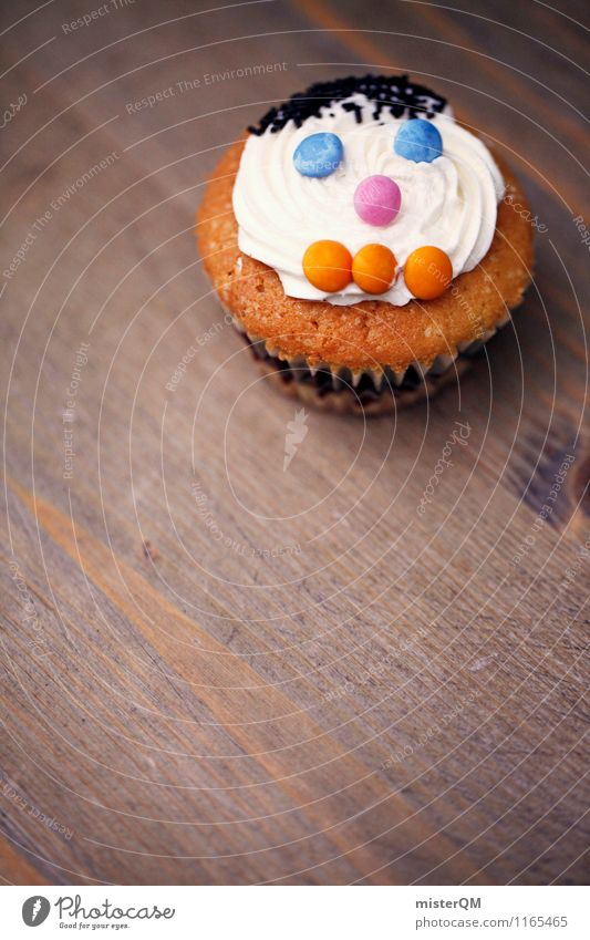 Muffin Man I Food Art Esthetic Face Baked goods Delicious Rich in calories Table Beautiful Sweet Sugar Decoration Childrens birthsday Colour photo