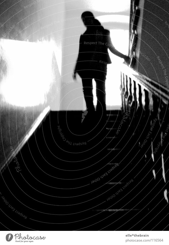 stairwell Woman Hallway Staircase (Hallway) Old building Grief Winter Cold Black & white photo Stairs Sadness