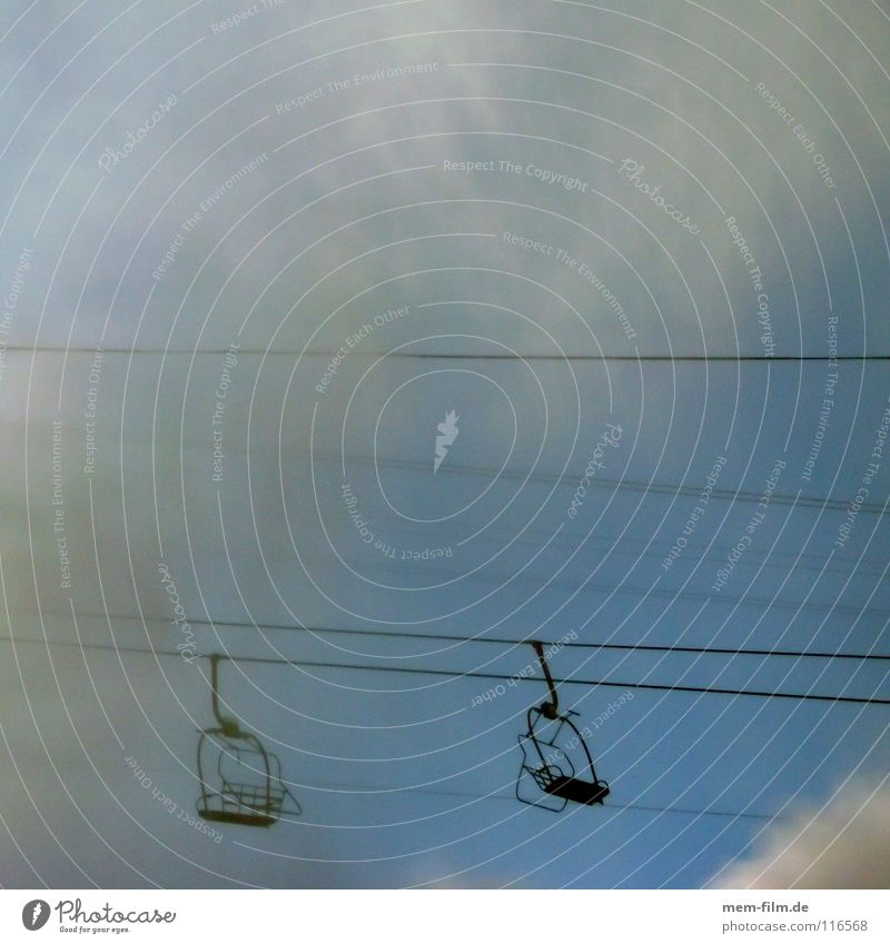Summer Winter Clouds Far-off places Snow Sports Mountain Ice Open Rope Aviation Empty Railroad Cable Driving Diagonal