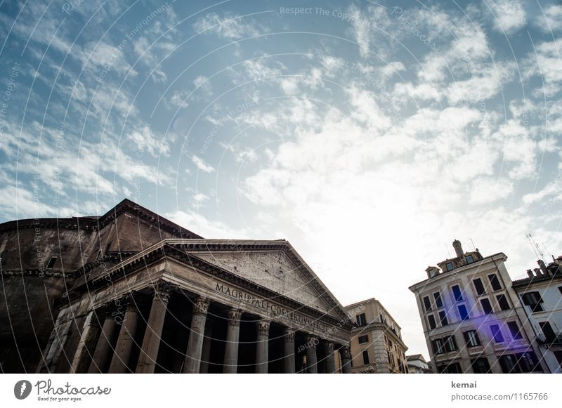 When in Rome: High up Sky Clouds Summer Beautiful weather Warmth Italy Europe Town Capital city Downtown Old town Manmade structures Building Wall (barrier)