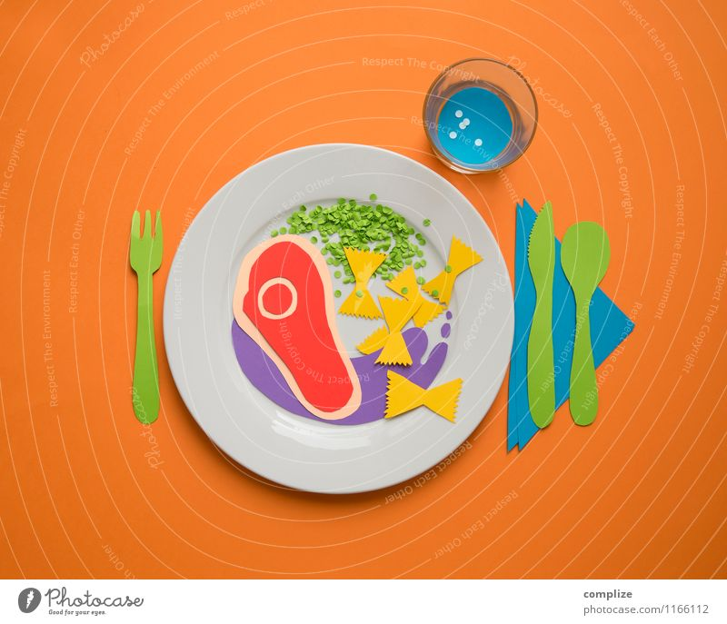 Colourful plate Food Meat Vegetable Dough Baked goods Nutrition Eating Lunch Dinner Banquet Organic produce Beverage Crockery Plate Cutlery Healthy Eating