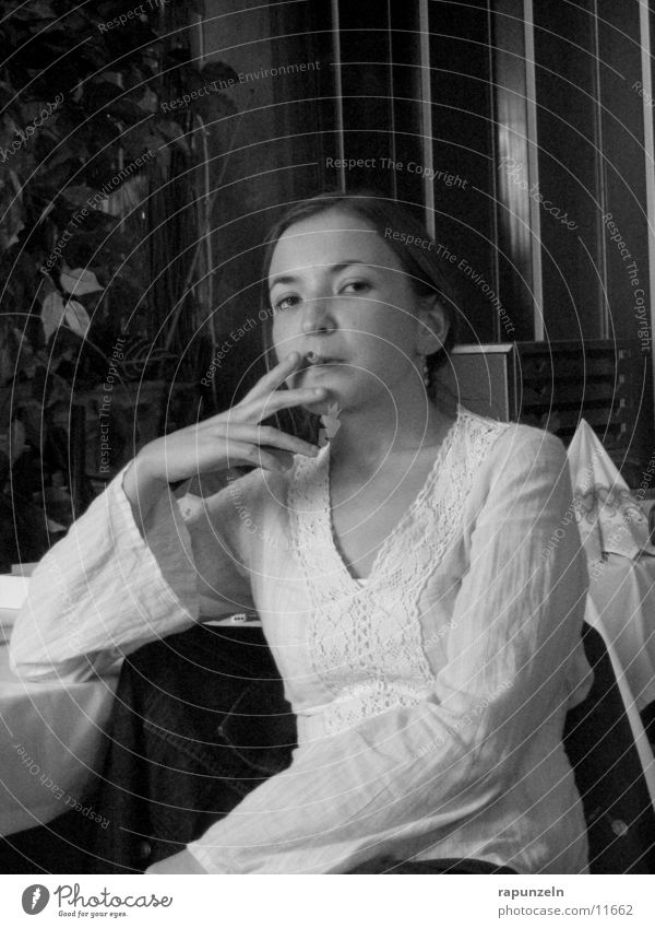 tuxedo Woman Cigarette Skeptical Dominant Smoke Sit Looking Black & white photo