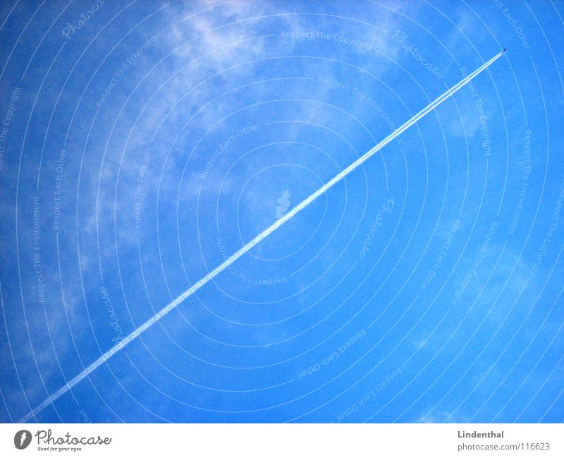 Sky Blue Clouds Line Airplane Aviation Direct Ascending Steep Jet