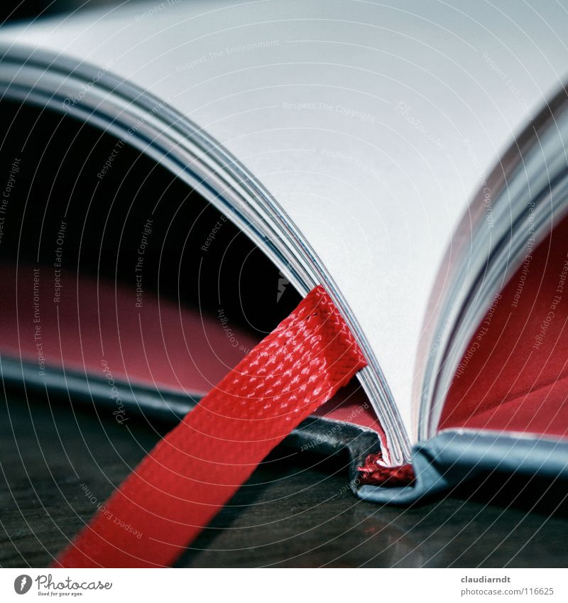 common thread Book Reading Literature Bound Struck Collection Novel Fairy tale Printing Binding Paper Bookmark Handbook Empty Red Side To leaf (through a book)