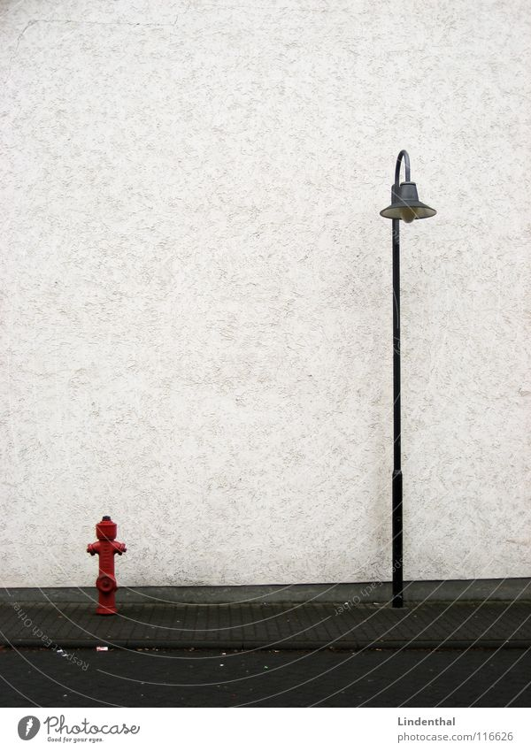 White Red Street Lamp Wall (building) Transport Sidewalk Street lighting Alley Fire hydrant