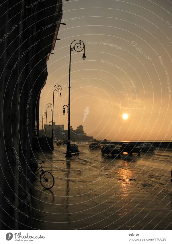 Sunset at Malecón in Havana El Malecón Cuba Historic Rain Car Street Sky