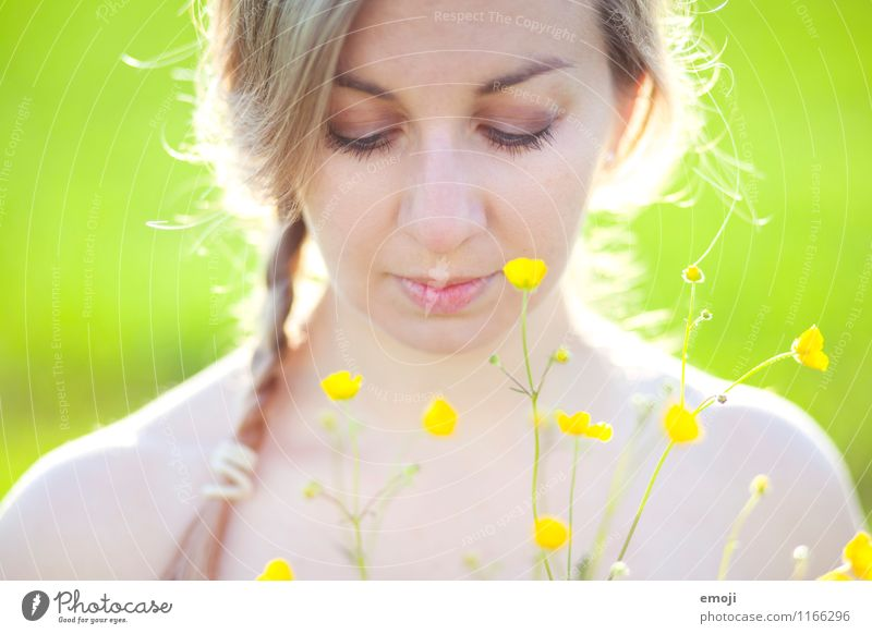 Human being Youth (Young adults) Beautiful Green Summer Young woman Flower 18 - 30 years Adults Face Yellow Natural Feminine Blonde Braids Marsh marigold