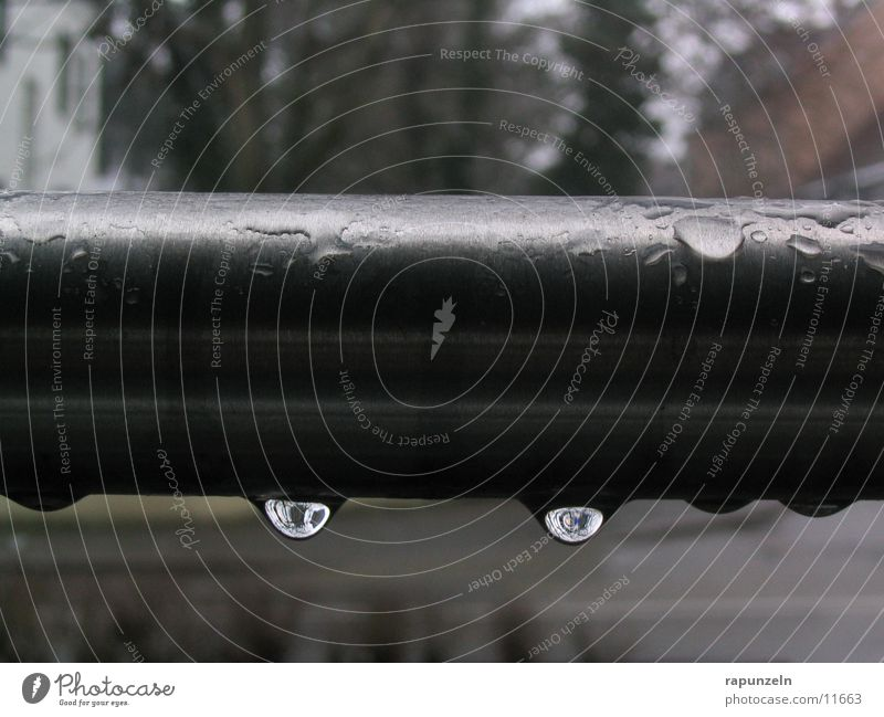 trickle Gray Rod Damp Things Rain Drops of water Water Iron-pipe