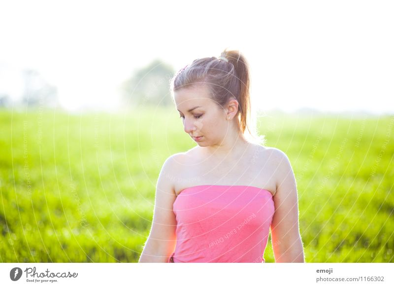 summer Feminine Young woman Youth (Young adults) 1 Human being 18 - 30 years Adults Environment Nature Spring Summer Beautiful weather Meadow Natural