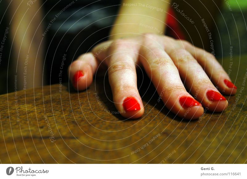 Woman Hand Red Emotions Feminine Wood Arm Skin Large Fingers Might 5 Wooden table Parts of body Forefinger Tabletop