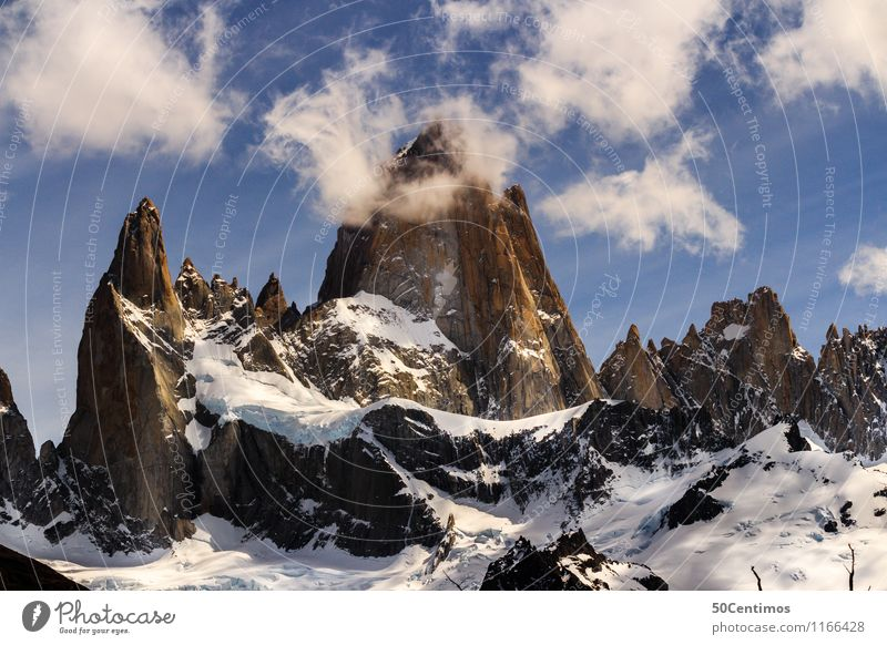 Fitz Roy in El Halten in Patagonia, Argentina Vacation & Travel Tourism Trip Adventure Far-off places Freedom Sightseeing City trip Winter Snow Winter vacation