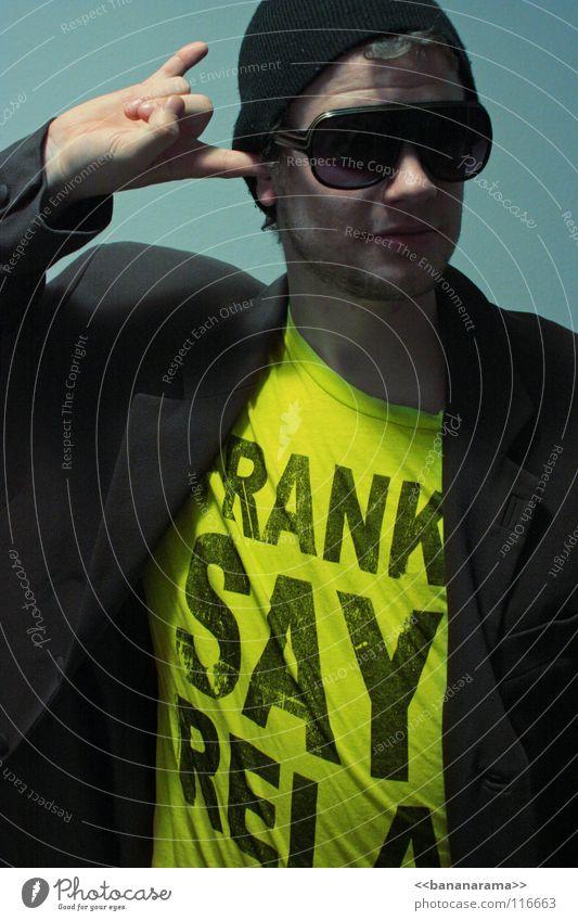 Man Blue Joy Face Yellow Colour Gray Style Eyeglasses T-shirt Chest Club Advertising Suit Freak Neon light