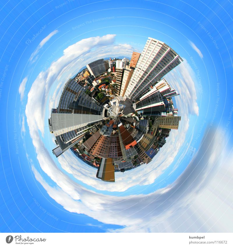 cosmopolitan city Globe Round High-rise House (Residential Structure) Town Clouds White Gray Light blue Dark Narrow Exterior shot Earth Sphere Blue Bright