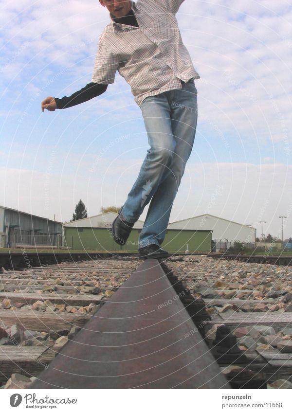 balance disturbance or dance? ;-) Man Railroad tracks Scurry Contentment Human being Legs Dance